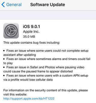 iOS 9.0.1 ارئه شد